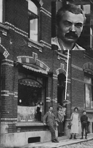 Joseph Depireux (la tête en médaillon) sur le pas de la porte de son magasin, 47 rue du Moulin